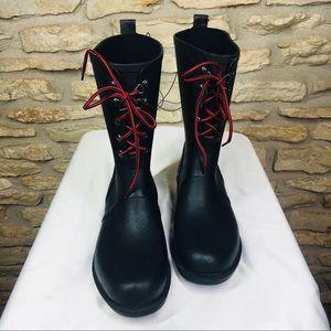 11 Merona Rain Snow Rubber Lace Up Black Boots